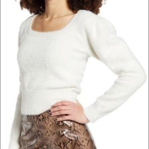 Astr the Label Fuzzy Crop Sweater Ivory Small